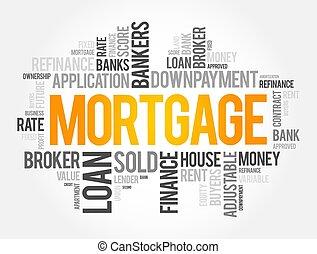 concepto, hipoteca, palabra, nube, collage, empresa / ...