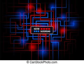 concepto, hola-hi-tech, contra, oscuridad, vector, plano de...