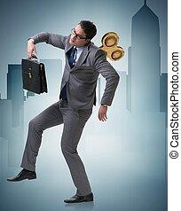 concepto, hombre de negocios, trabajador, llave