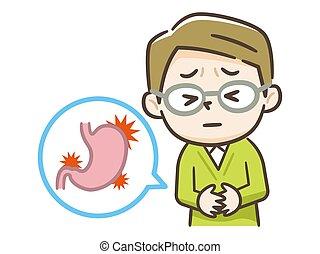 concepto, hombre, digestivo, icono, estómago, estómago, ...