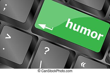 concepto, humor, teclado, -, llave computadora, social