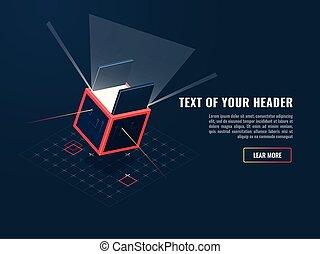 concepto, icono, de, compra, digital, producto, juego, adición, datos el almacenamiento, bloque, datos, servidor, isométrico, vector