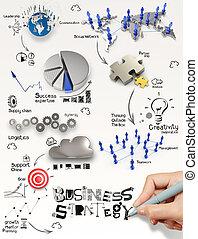 concepto, iconos del negocio, estrategia, diagrama, papel, plano de fondo, mano, dibujo, 3d