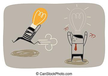 concepto, idea negocio, ladrón, robar, hombre