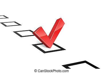 concepto, illustration., vector, voto, garrapata, rojo, 3d