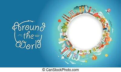 concepto, illustration., viaje, vector, mundo, alrededor