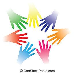 concepto, ilustración, de, colorido, manos, tenido, juntos,...
