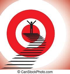 concepto, ilustración, de, un, persona, alcanzar, meta, y,...