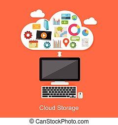 concepto, Ilustración, informática, almacenamiento, o, nube