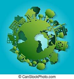 concepto, ilustración, para, mundo, ambiente, día, con, earth., papel, art., vector