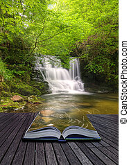 concepto, imagen, fluir, mágico, cascada, creativo, libro, ...