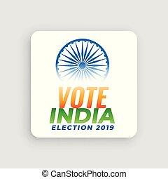 concepto, india, 2019, elección, voto, diseño