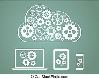 concepto, informática, -, dispositivos, diseño, conectado, nube