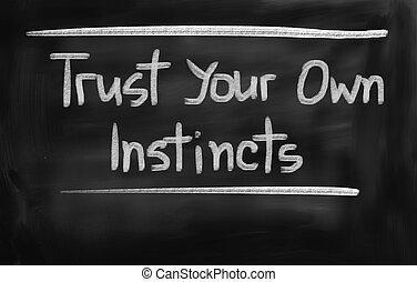 concepto, instintos, poseer, confianza, su