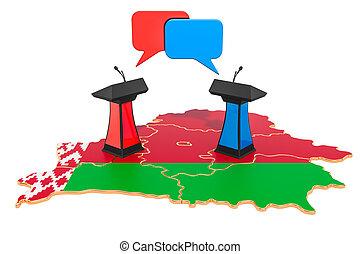 concepto, interpretación, belorussian, debate, 3d