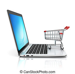 concepto, ir de compras en línea directa, 3d