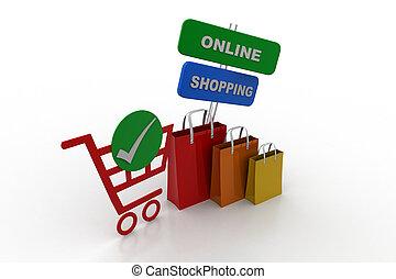 concepto, ir de compras en línea directa