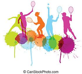 concepto, jugadores del tenis, siluetas, vector, salpicaduras, plano de fondo, tinta