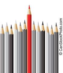 concepto, lápices, liderazgo