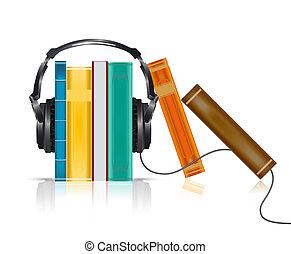 concepto, libros, auriculares, audio