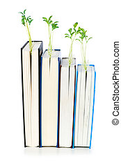 concepto, libros, conocimiento, plantas de semilla