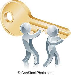 concepto, llave, éxito