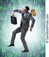 concepto, llave, hombre de negocios, trabajador