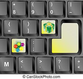 concepto, llaves, -, ordenador teclado, feriado, navidad