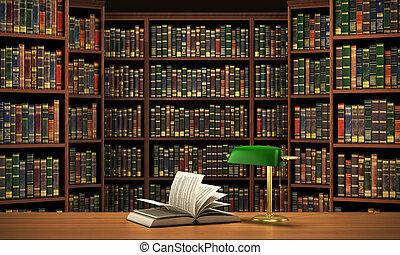 concepto, lleno, books., foco, confuso, libros, plano de...