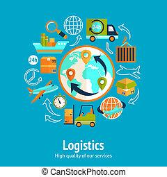 concepto, logístico, cadena