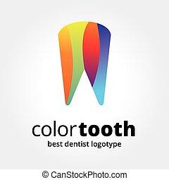 concepto, logotype, resumen, aislado, diente, vector, plano ...
