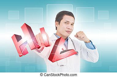 concepto, lucha, VIH