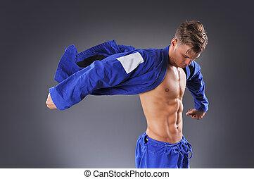 concepto, luchador, sano, muscular, jitsu, jiu, retrato,...