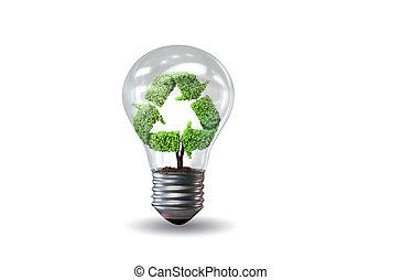 concepto, luz,  -, ambiente, interpretación, verde, bombilla,  3D