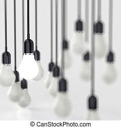 concepto, luz,  idea, creativo, liderazgo, bombilla