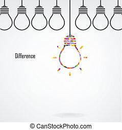 concepto, luz, idea, creativo, bombilla, diferencia