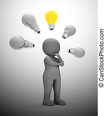 concepto, luz, -, ideas, ilustración, depicted, bombilla, ...