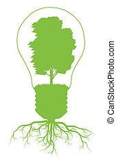 concepto, luz, símbolo, árbol, vector, ecología, plano de ...