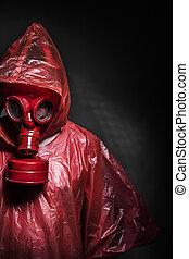 concepto, máscara, gas, infección, ebola, rojo, hombre