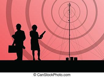 concepto, móvil, telecomunicaciones, teléfono, base, radio, plano de fondo, estación, torre, o, ingenieros