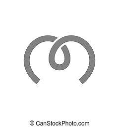 concepto, m, vector, carta, logotipo, icon.