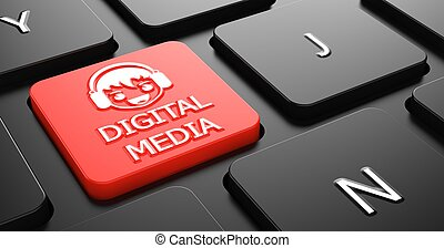 concepto, medios, digital, button., teclado, rojo