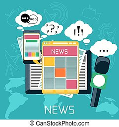 concepto, medios, masa, noticias, periódico, radio