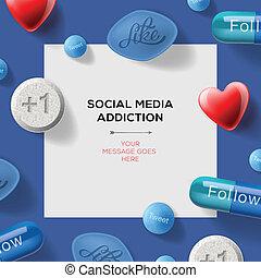 concepto, medios, píldoras, excusas, social, titulares, adicción