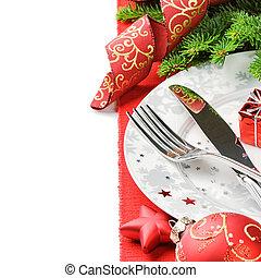 concepto, menú, encima, aislado, navidad blanca