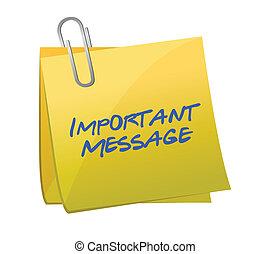 concepto, mensajes, importante, post-it