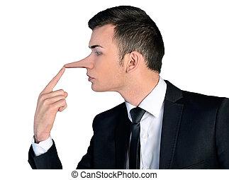 concepto, mentiroso, hombre de negocios