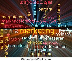 concepto, mercadotecnia, wordcloud, encendido, multilanguage, plano de fondo