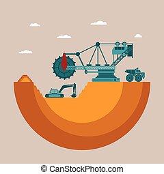 concepto, mineral, mina, vector, lugar, depósito, montón, desperdicio