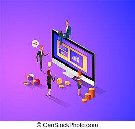 concepto, moderno, diseño, su, plantilla, isométrico, customize., púrpura, website., fácil, sitio web, plano, manejar, theme., aterrizaje, oscuridad, datos, illustration., corregir, móvil, vector, página